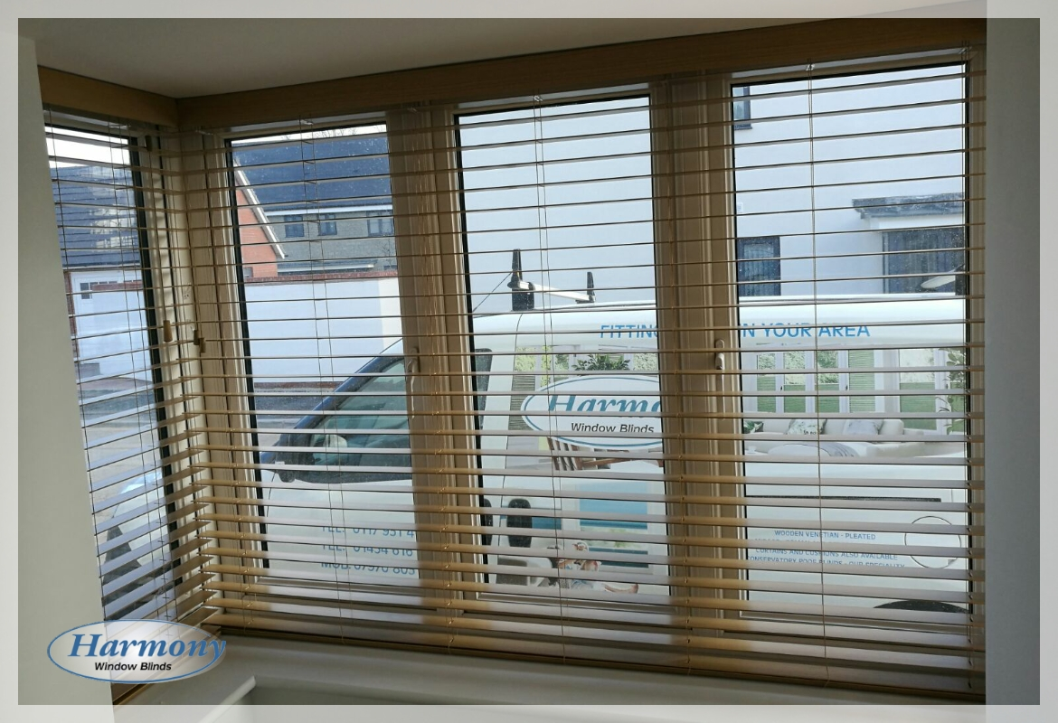 Oak Wooden Blinds in a Box Bay Window