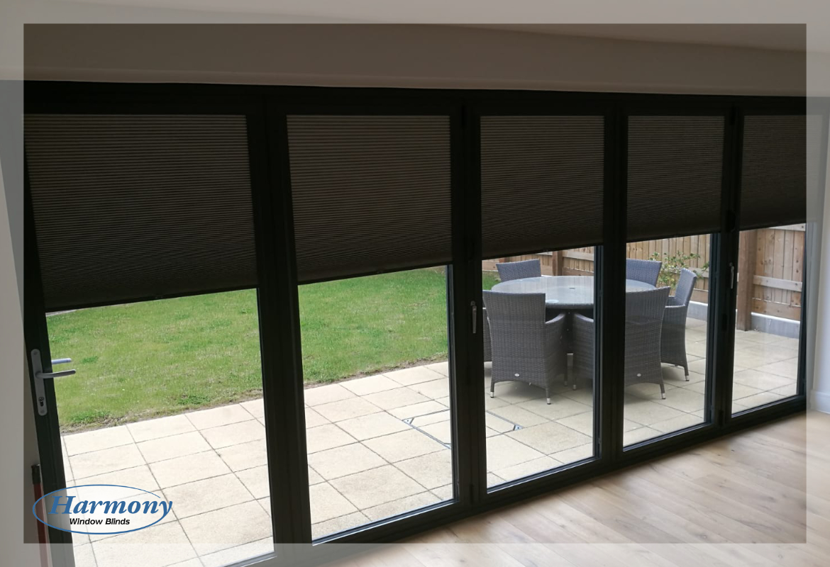 Anthracite Grey Bi Fold Doors With Grey Perfect Fit Blinds