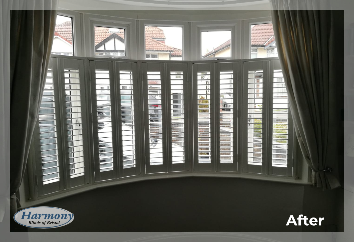 Cafe Style Shutters In Bay Window Harmony Blinds Of Bristol