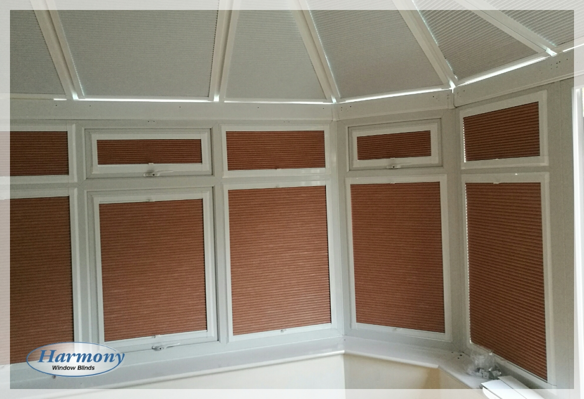 Terracotta Perfect Fit Duette Blinds for a Conservatory
