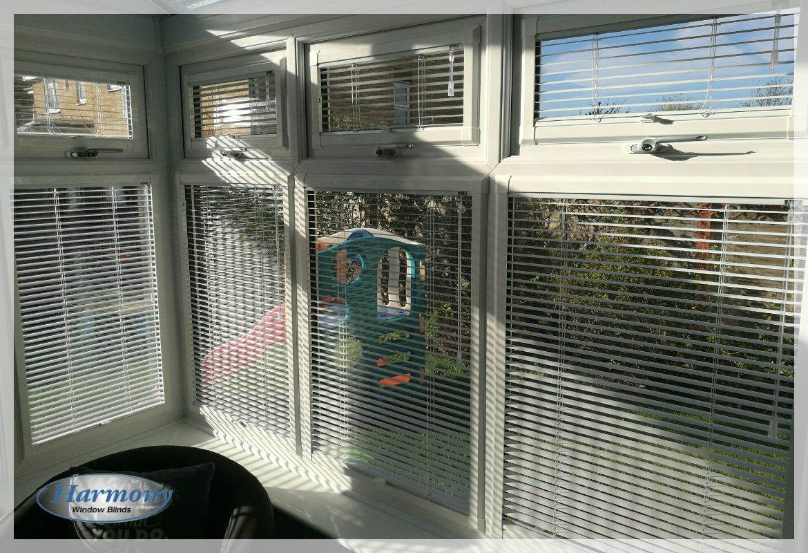 Pearl White Perfect Fit Venetian Blinds in Conservatory