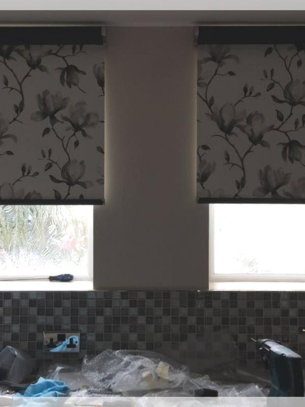 Charcoal Coloured Floral Pattern Senses Roller Blinds