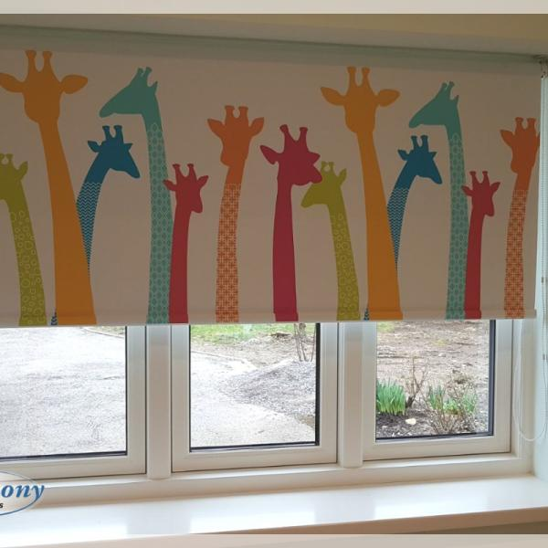 Children's Blackout Roller Blind with Giraffe Print