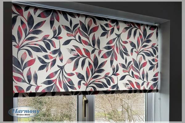 Contemporary Floral Red & Blue Pattern Roller Blind