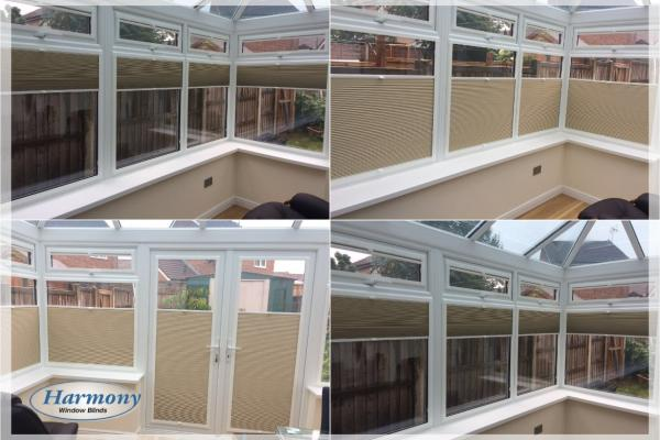 Cream Perfect Fit Pleated Blinds in Conservatory