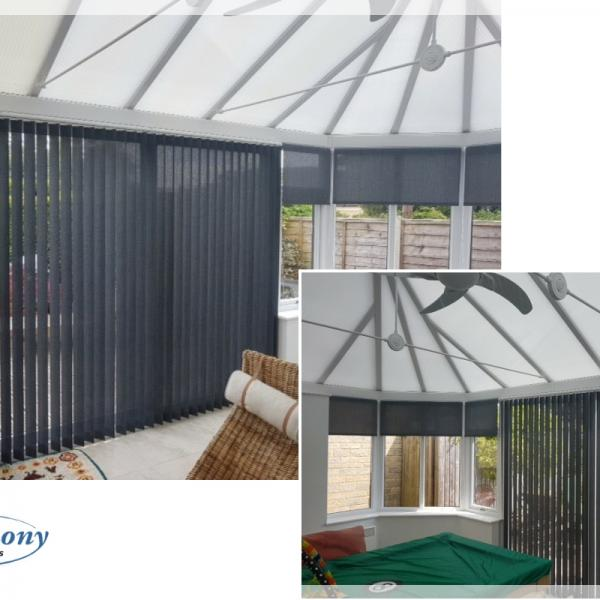 Dark Grey Vertical and Roller Blinds in a Conservatory