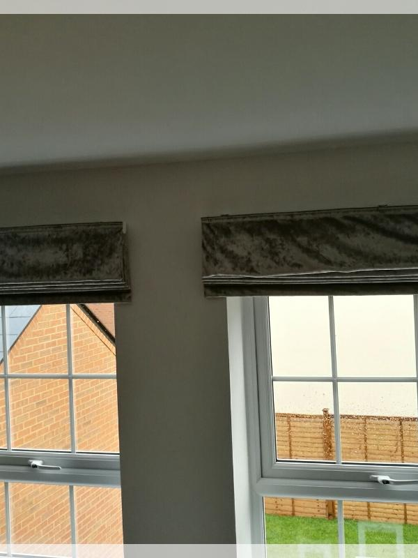 Grey Velvet Roman Blinds
