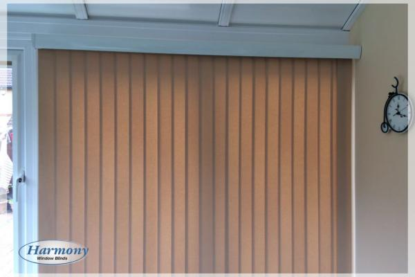 Light Brown Vertical Blind with Metallic Pelmet