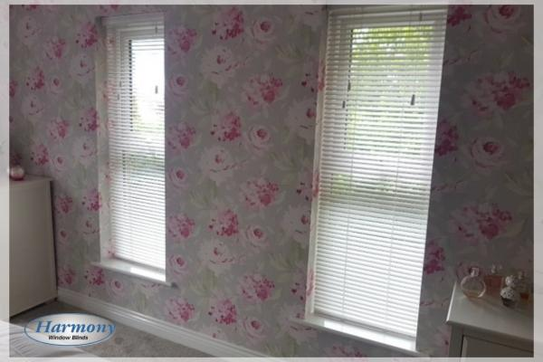 Matching Wooden Blinds on Floral Feature Wall