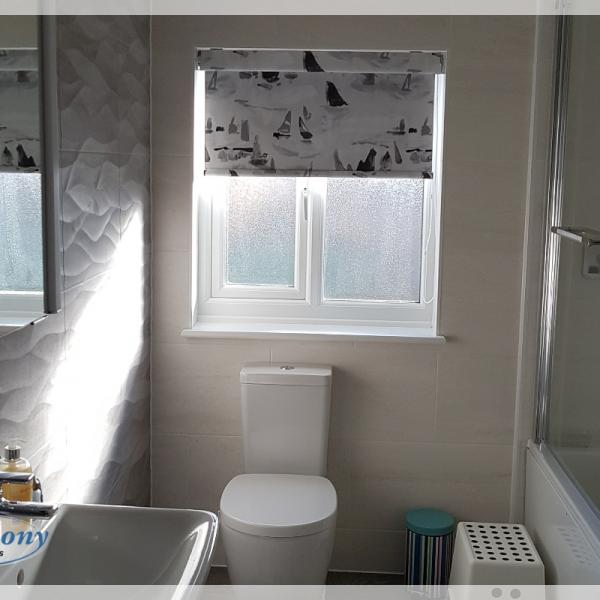 Naval Pattern Senses Roller Blind in Bathroom