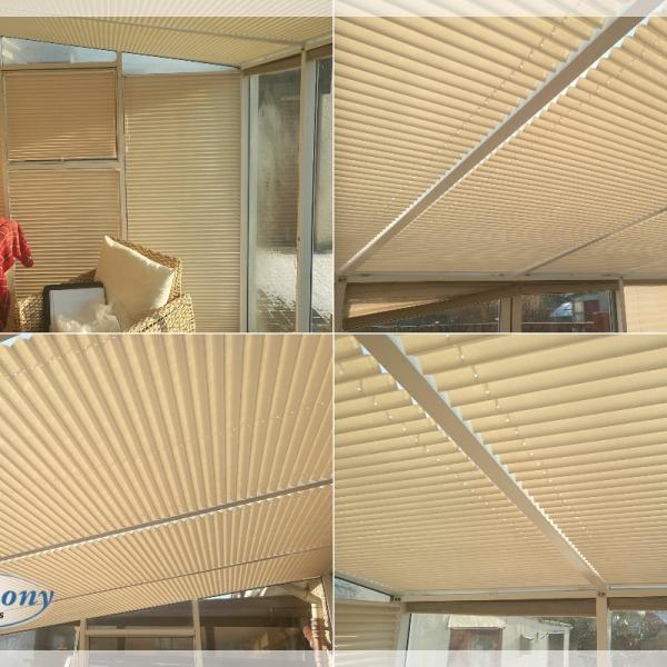 Pleated Conservatory Blinds for the Sides and Conservatory Roof
