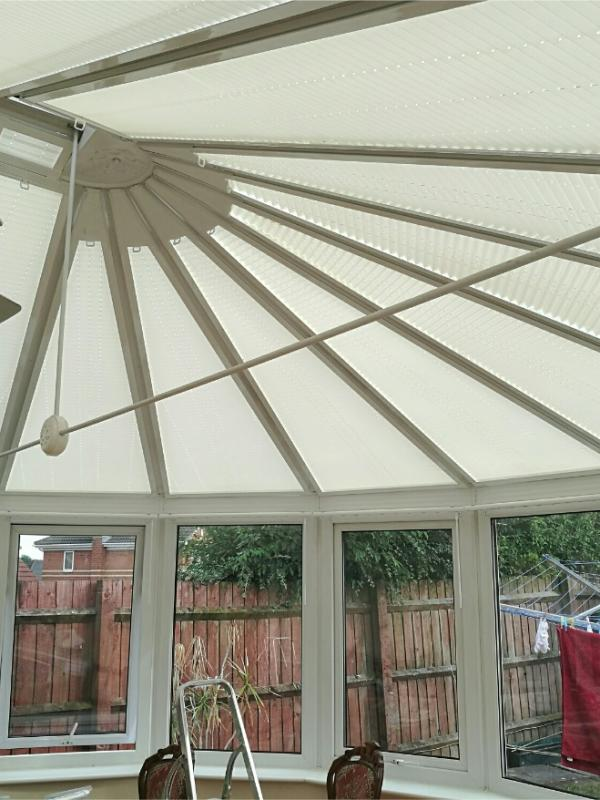 Shaped Pleated Conservatory Roof Blinds