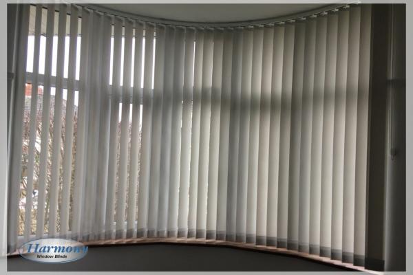 Vertical Blind with Curved Track in Bay Window
