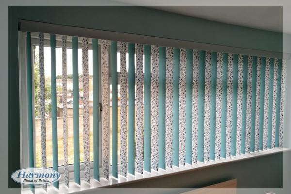 Vertical Blinds with Mixed Drapes and Pelmet