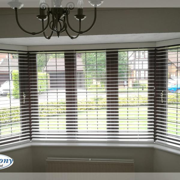Wooden Blinds in an Angled Bay Window