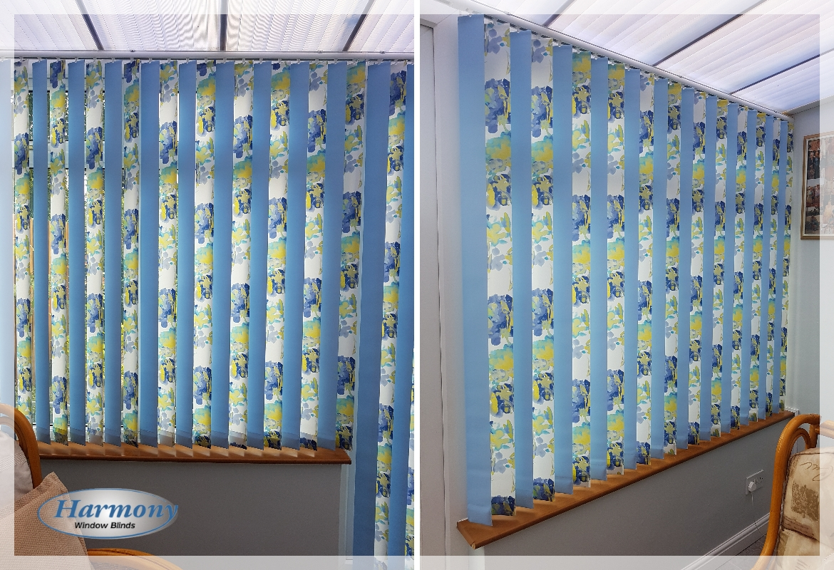 Alternate Patterned & Colourful Vertical Blinds in a Conservatory