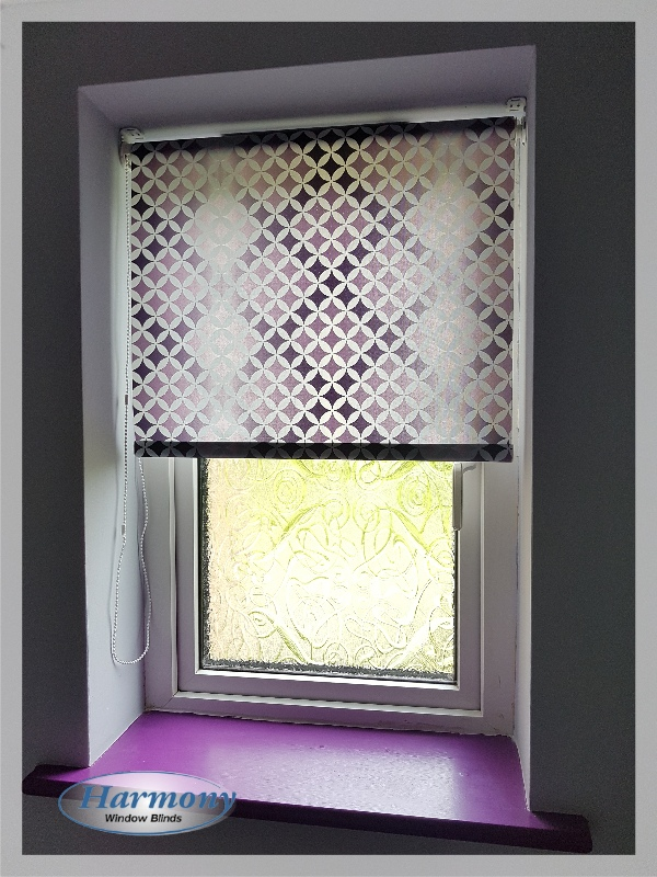 Roller Blind With Purple Geometrical Pattern Harmony