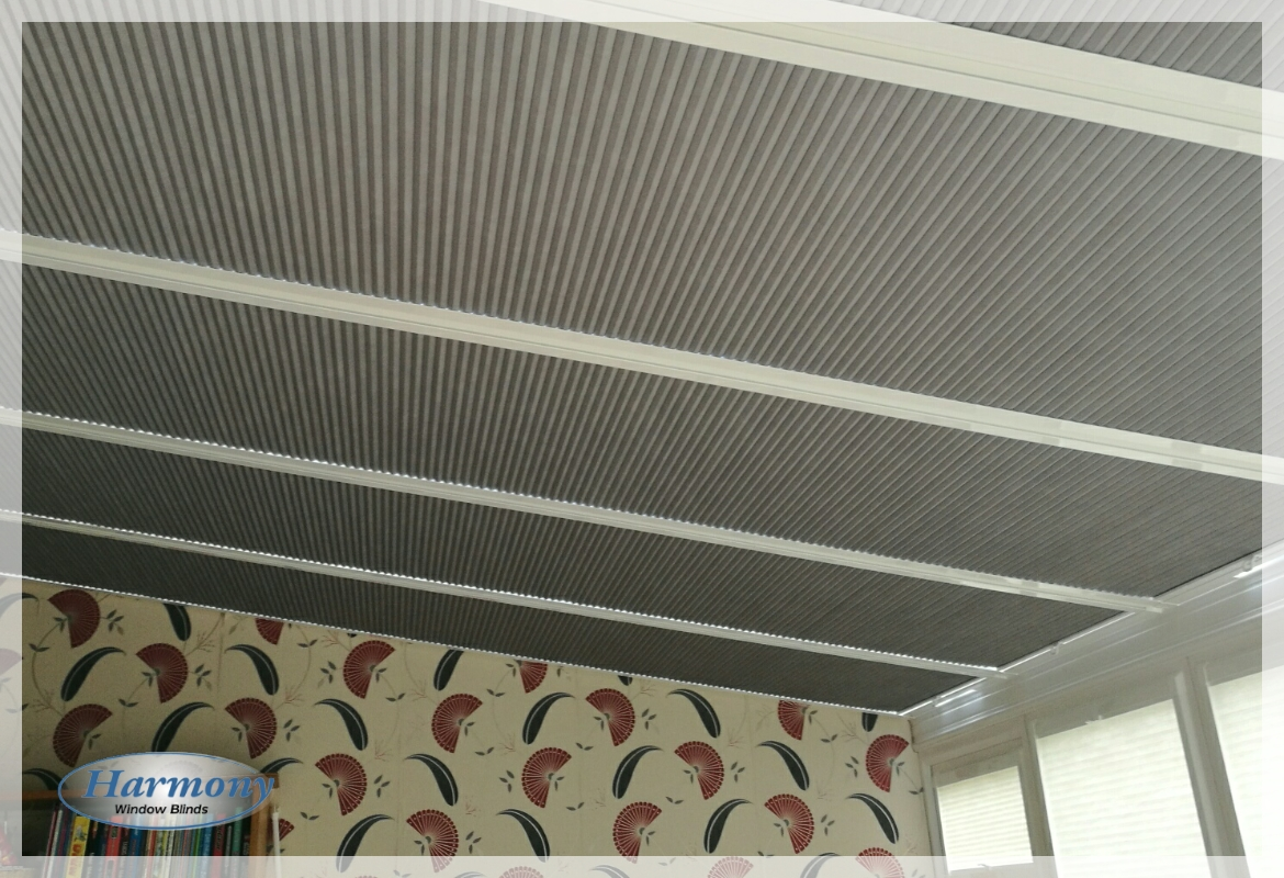 Grey Perfect Fit Duette Blinds for a Conservatory Roof