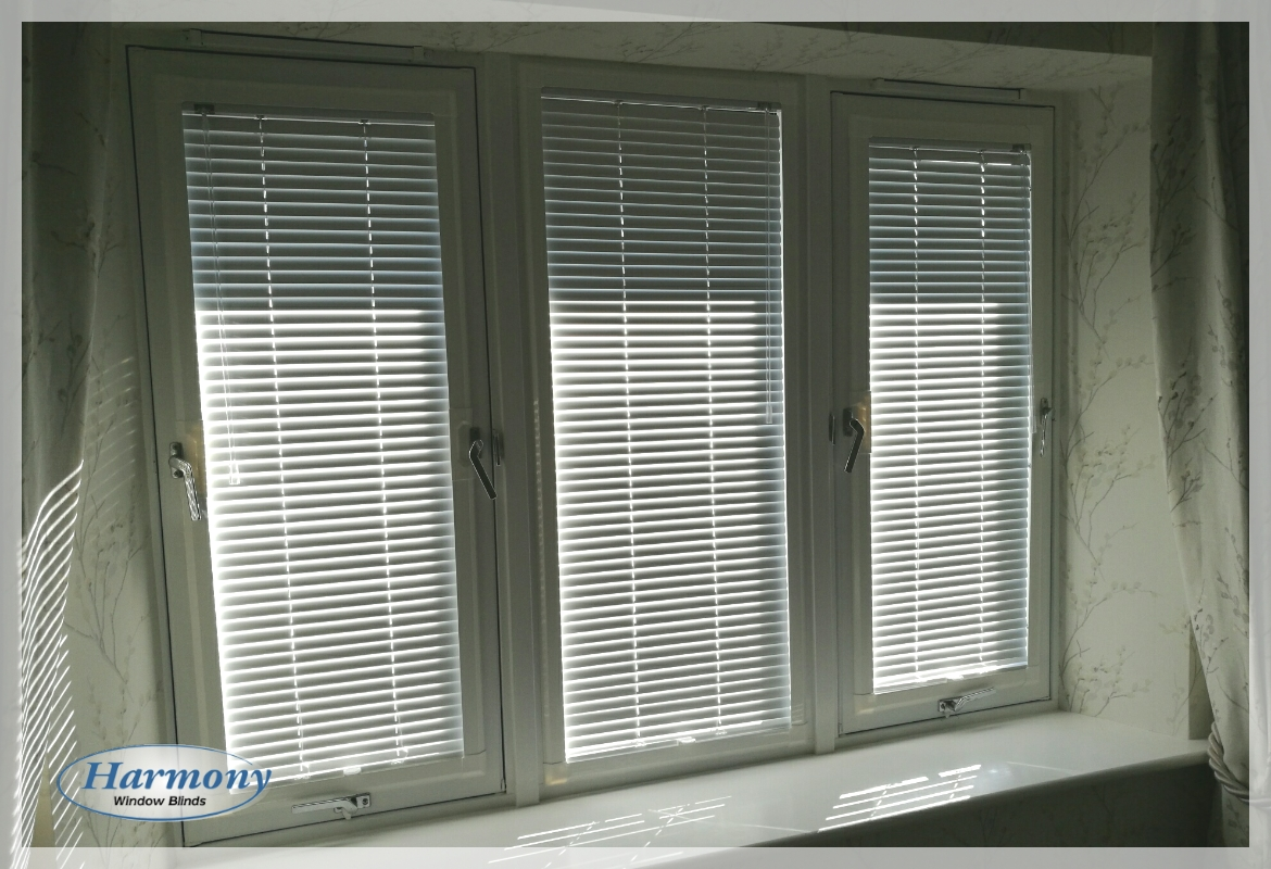 Three Panel Window dressed with Perfect Fit Venetian Blinds