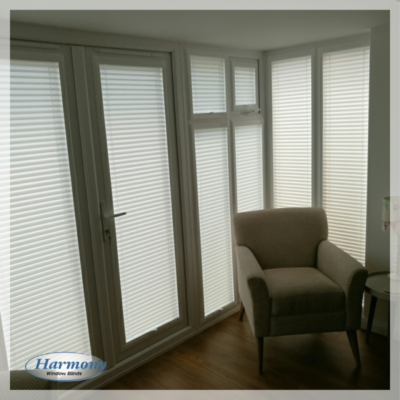 White Perfect Fit Blinds in Conservatory Corner
